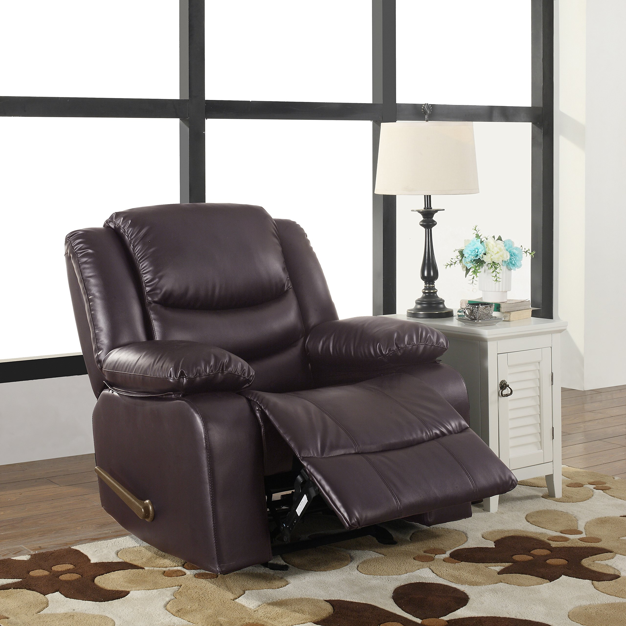 Bonded Leather Rocker Recliner Living Room Chair (Brown) by Divano Roma Furniture