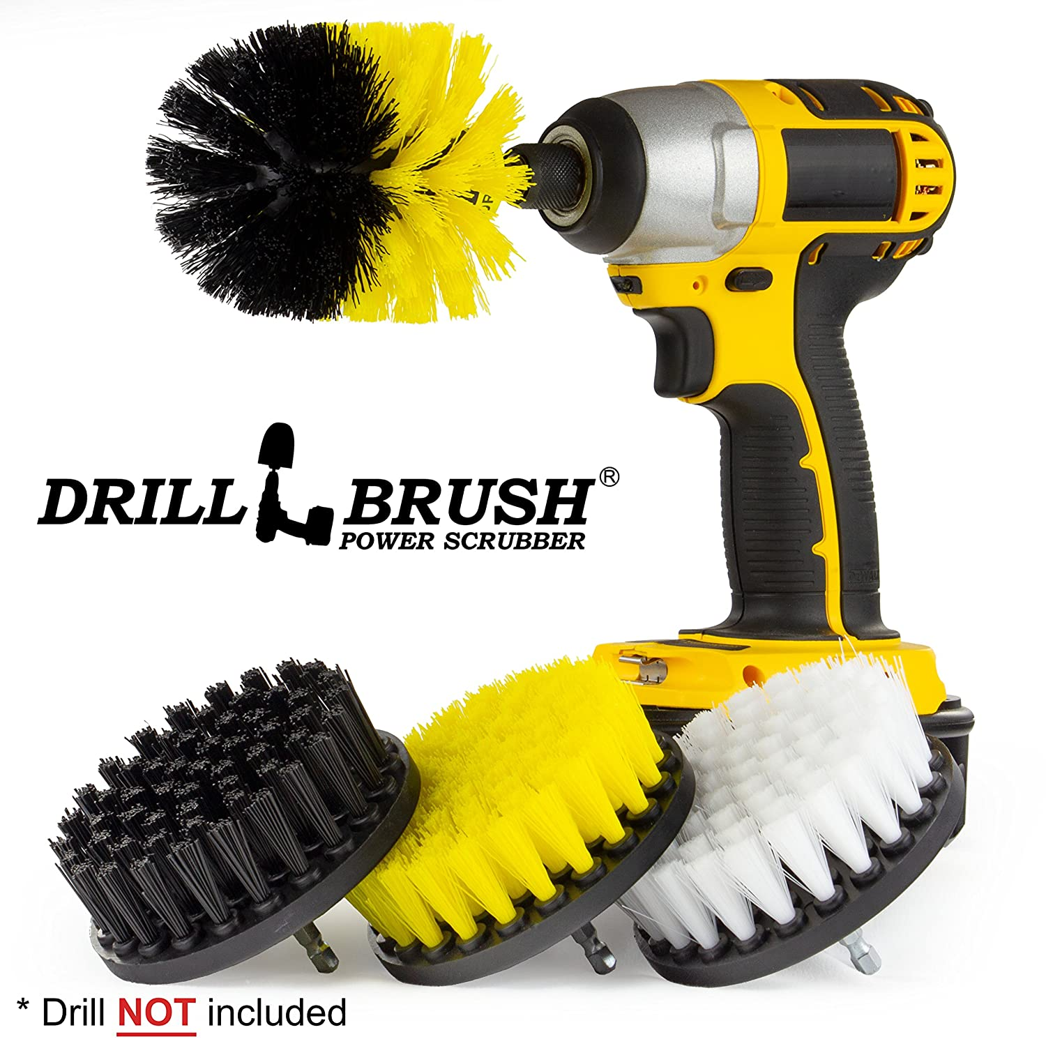 Drill Brush Grill Cleaner/Shower Scrubber/Grout Cleaner/Power Scrubber Brush/Bathroom Tile/Car Seat Cleaner/Carpet Brush/BBQ Cleaner/Tile Brush/Boat Cleaning/Griddle Cleaner