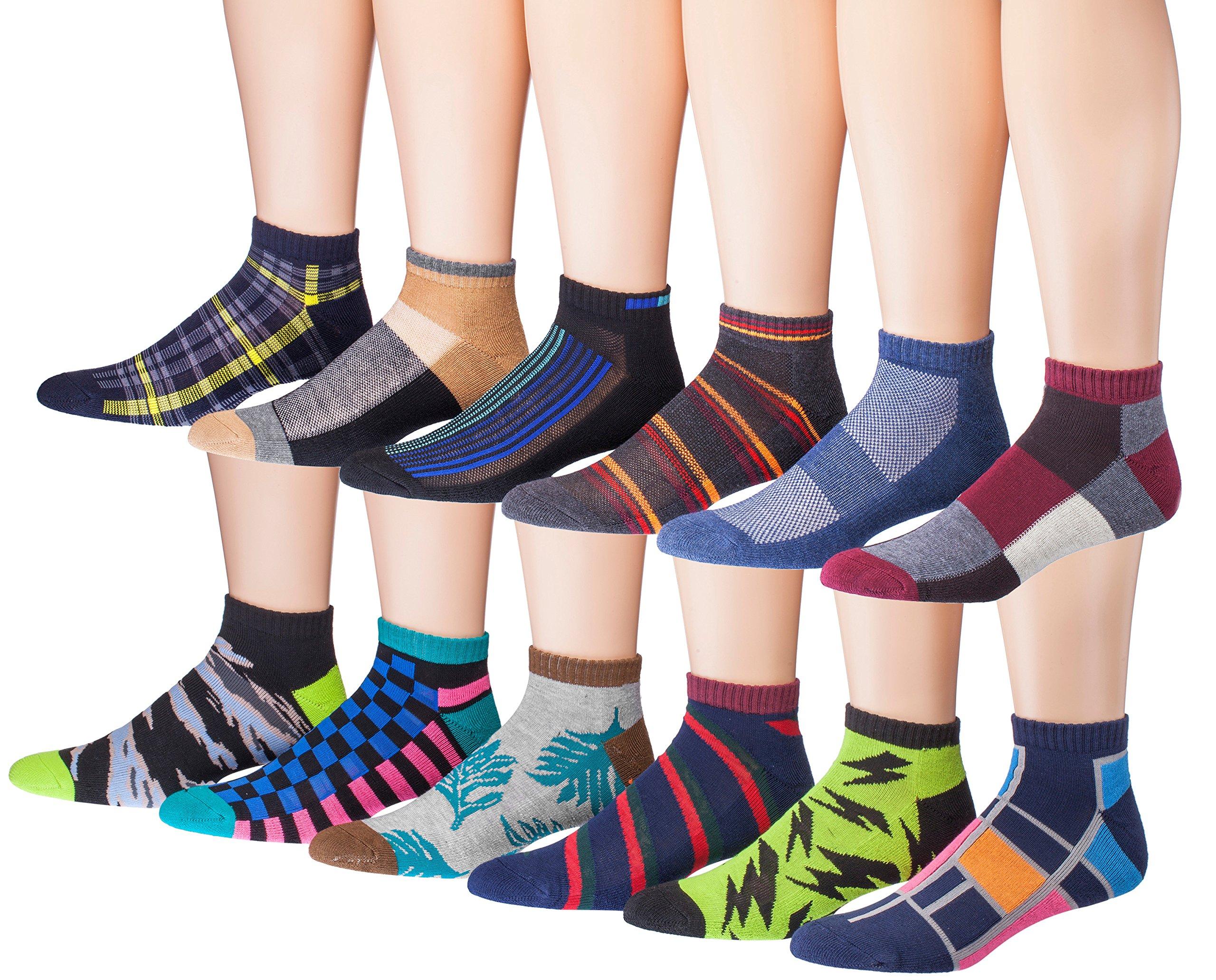 James Fiallo Men's 12-Pairs Low Cut Athletic Sport Peformance Socks, (sock size 10-13) Fits shoe size 6-12, 2903-04