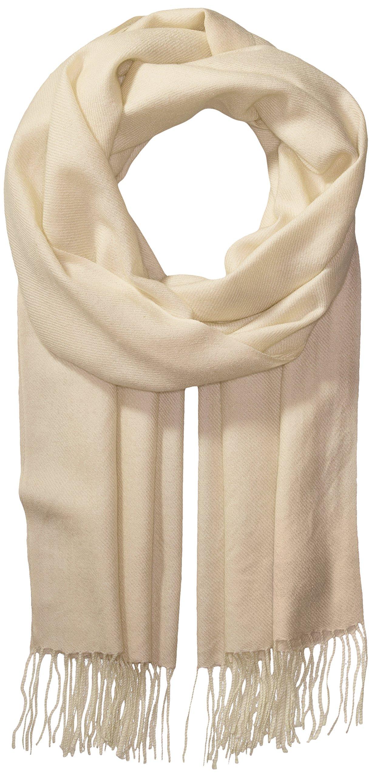 La Fiorentina Women's Soft Twill Cashmere Scarf, White, One Size