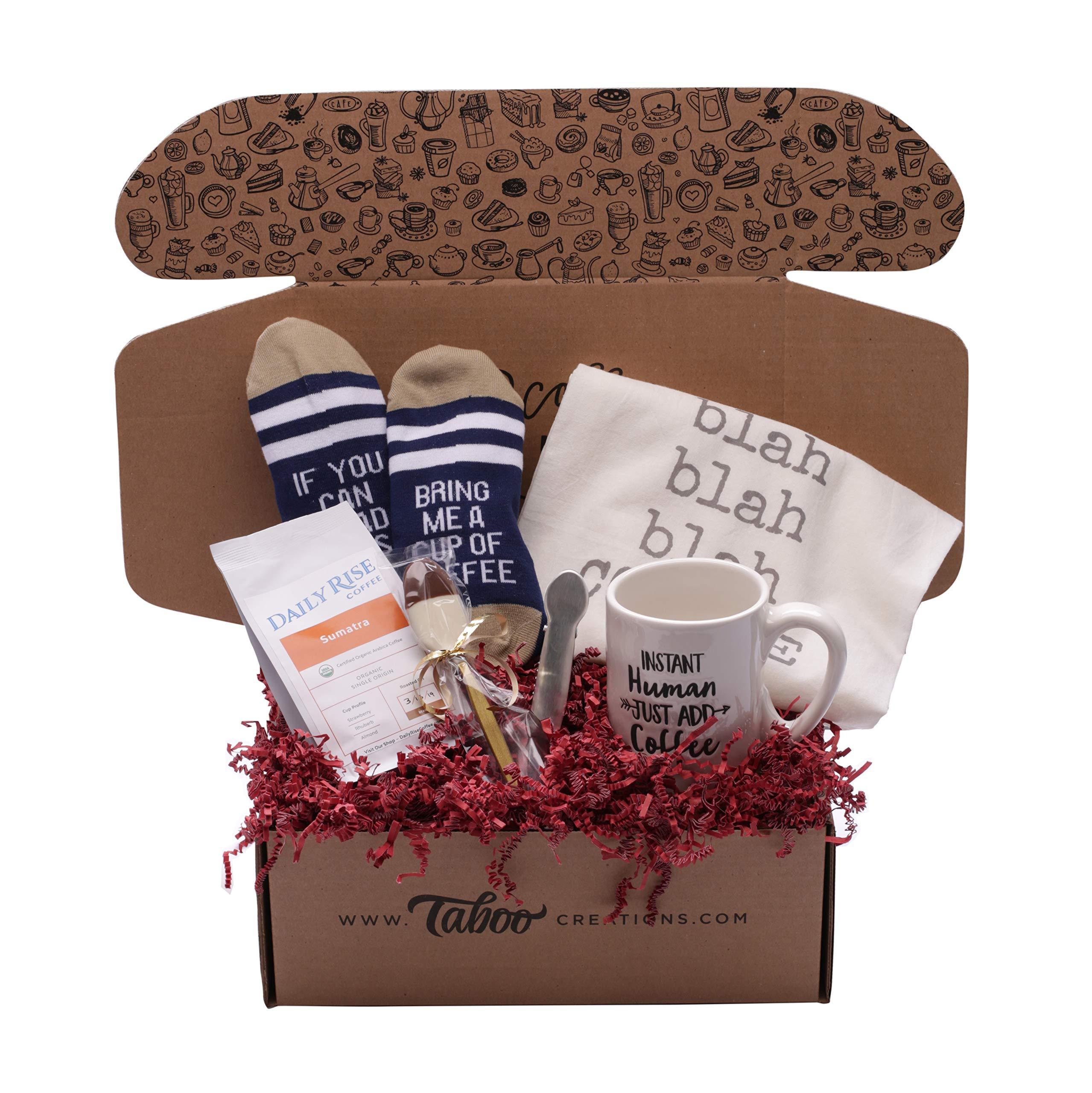 Taboo Creations Coffee Lovers Gift Basket Box - Fun & Unique Gift Box for Coffee Lovers