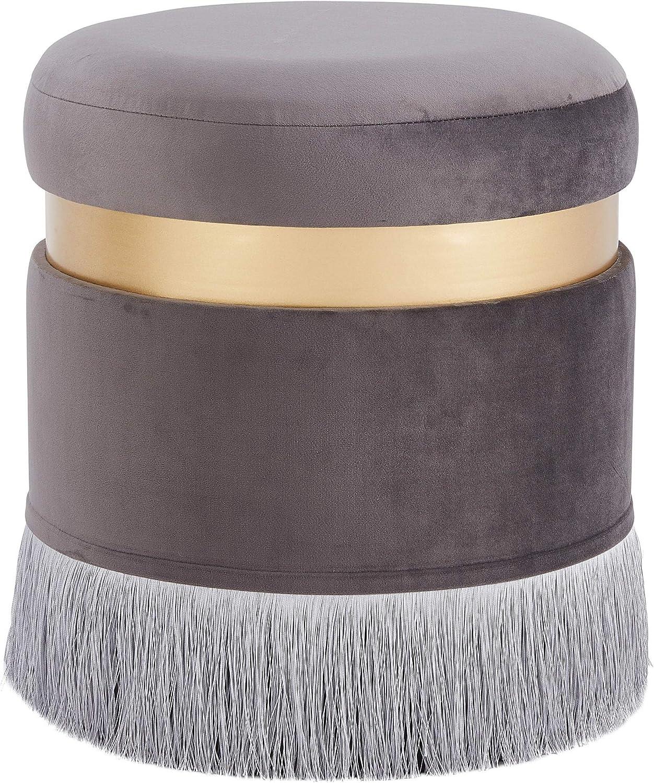 New Pacific Direct Suri Velvet Fabric Fringe Round Storage Ottoman, Serene Dark Grey