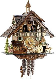 Original Negro bosques Cuco Reloj de madera auténtica, mecánica de unidad de 1 día con
