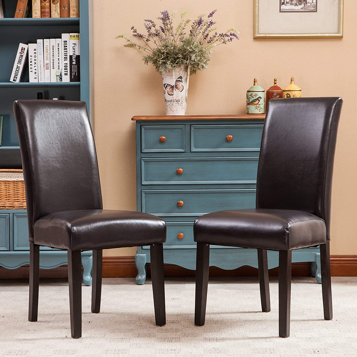 Roundhill Furniture Donatello Urban Style Solid Wood Leatherette Padded Parson Chair (Set of 2), Brown