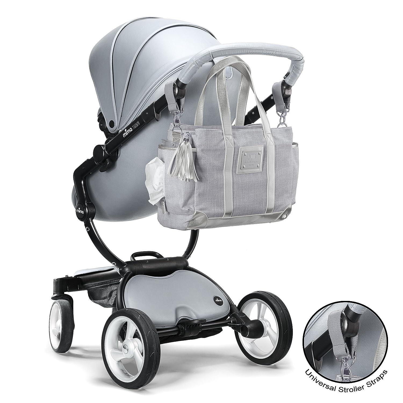 Bolso de pañales de diseño - Bolso grande para mujer con múltiples bolsillos, diseño de lujo (tote clásico) con cambiador de bonus gris: Amazon.es: Bebé