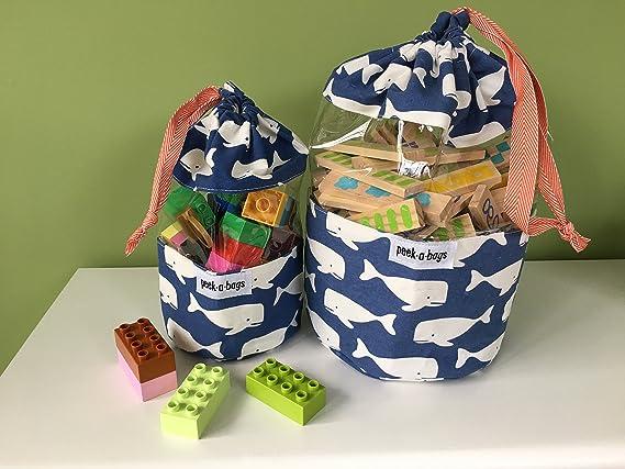 Vinyl Window Drawstring Travel Toy Bag Children/'s Peek A Boo Toy Bag Floral Print Fabric.