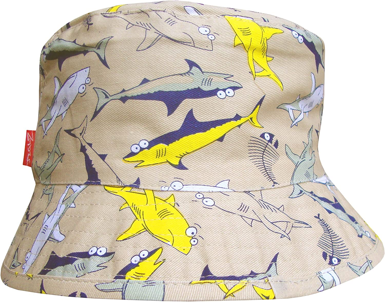 Boys Sharks Design Holiday Bucket Style Summer Sun Beach Hat