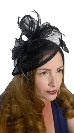 Martha Rose Boutique Black Teardrop Sinamay Fascinator with Feathers -  Special Occasion Wedding Races  Amazon.co.uk  Clothing c5837498c8f
