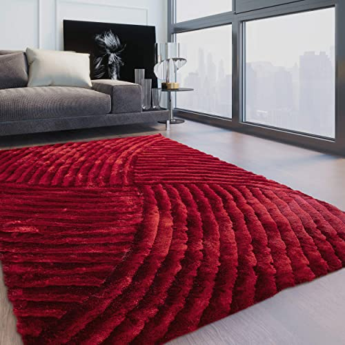 8 x10 Feet Shag Light Red Dark Red Cherry Colors Two Tone Shaggy 3D Carved Area Rug Carpet Rug Indoor Bedroom Living Room Decorative Designer Modern Contemporary Plush Pile 259