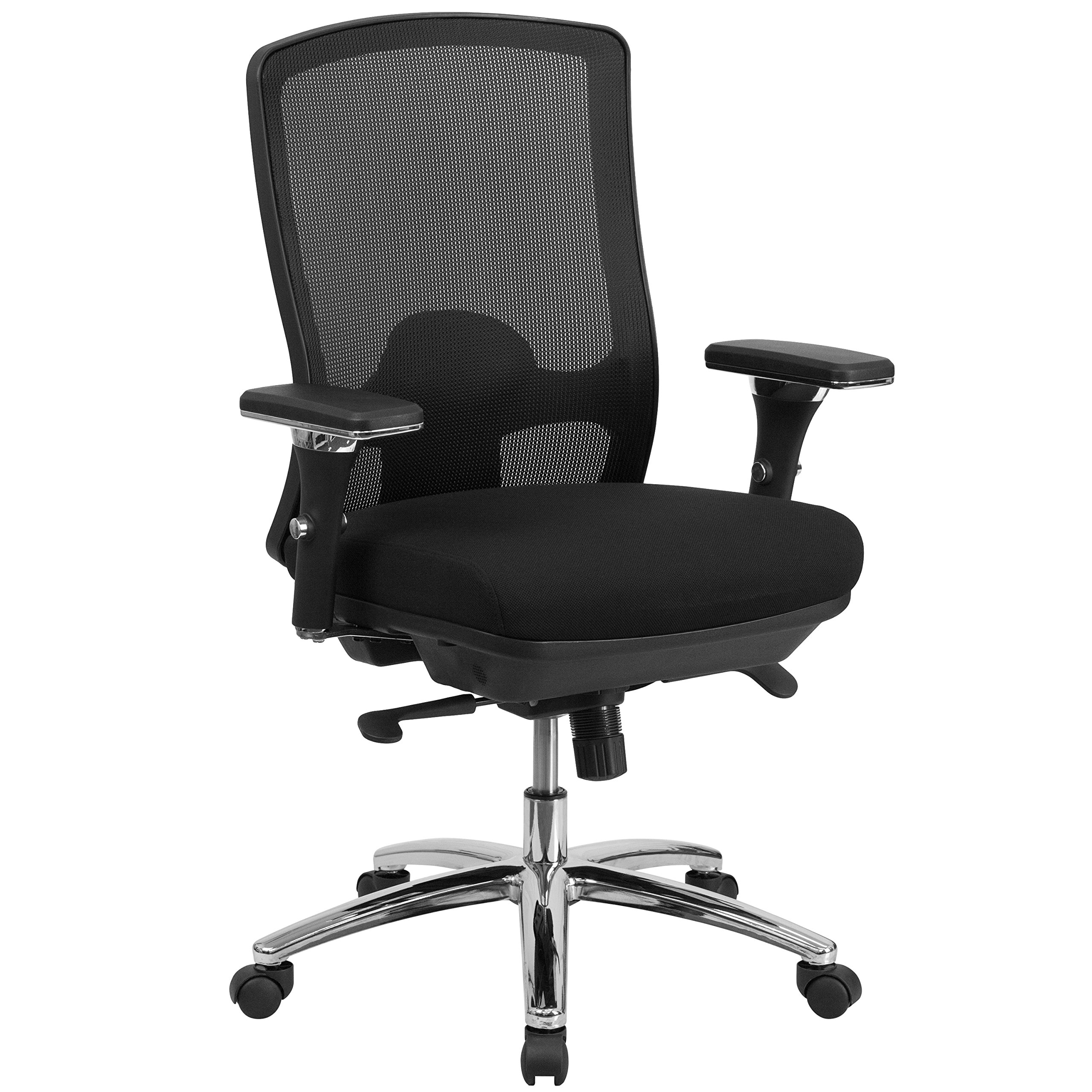 Flash Furniture HERCULES Series 24/7 Intensive Use Big & Tall 350 lb. Rated Black Mesh Multifunction Swivel Chair with Synchro-Tilt