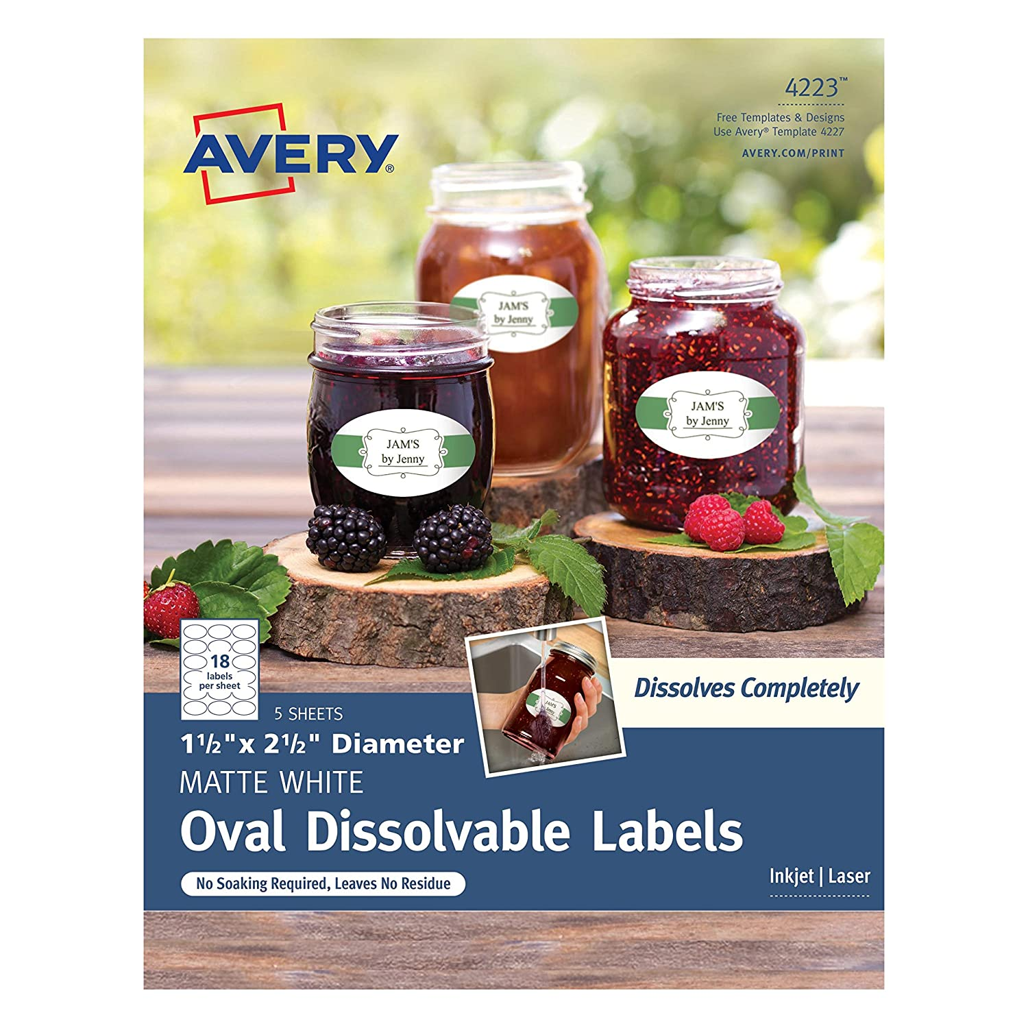 """Avery Dissolvable Oval Labels, 1-1/2"""" x 2-1/2"""", Pack of 90 (4223)"""