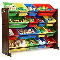 Humble Crew Supersized Wood Toy Storage Organizer, Toddler, Espresso/Primary