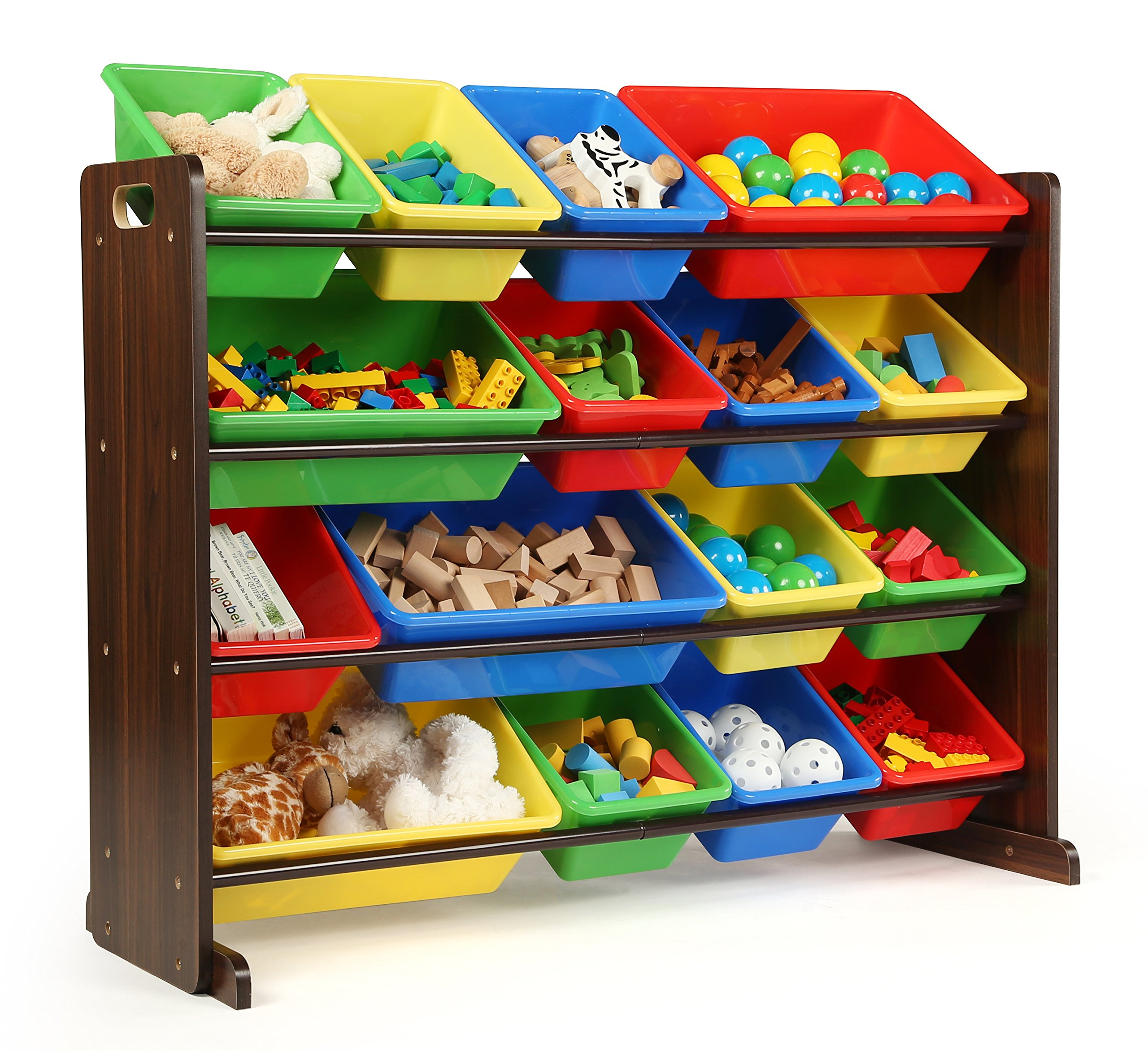 Tot Tutors Discover Collection Supersized Wood Toy Storage Organizer, Toddler, Espresso/Primary by Tot Tutors