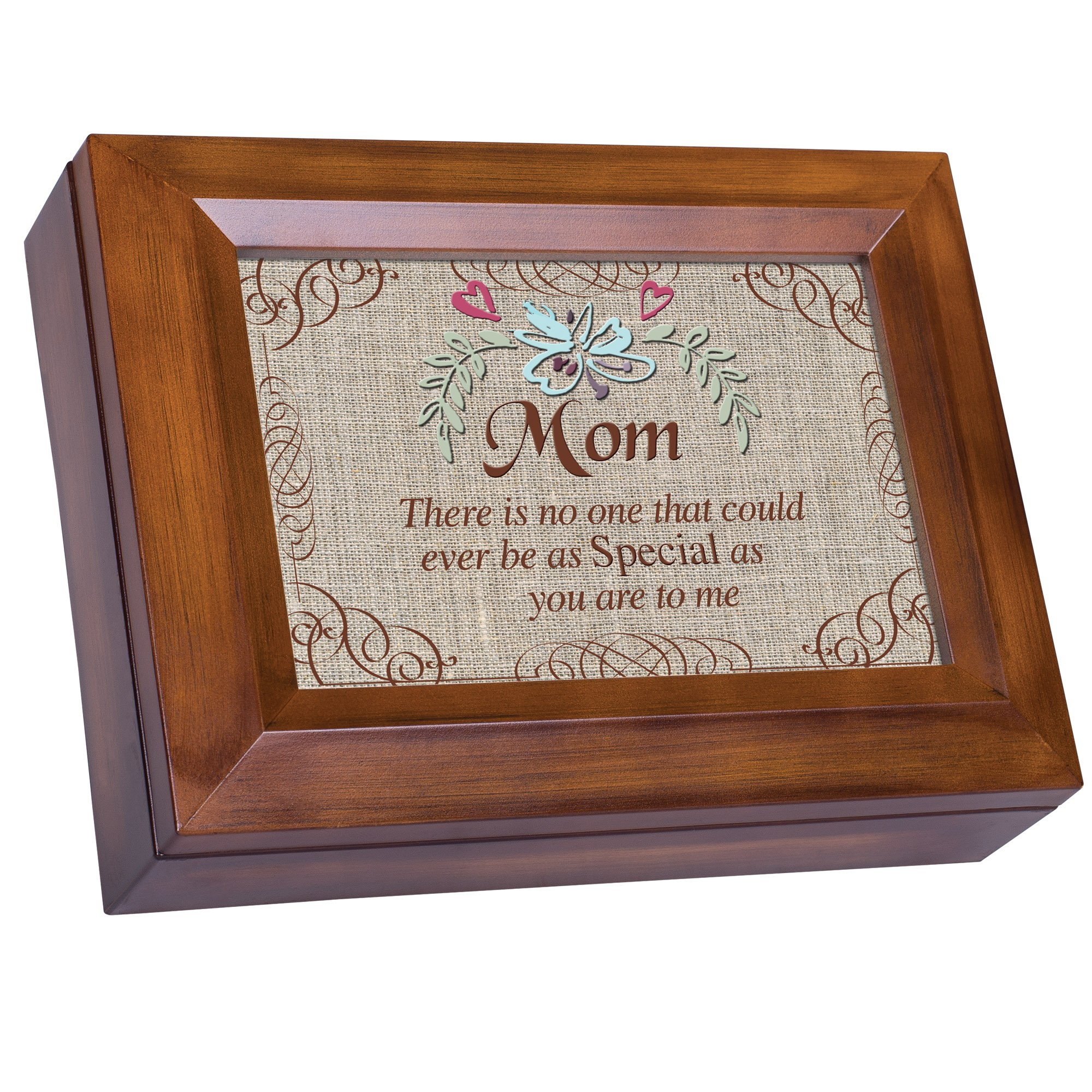 Special Mom Burlap Design Wood Finish Jewelry Music Box Plays You are My Sunshine