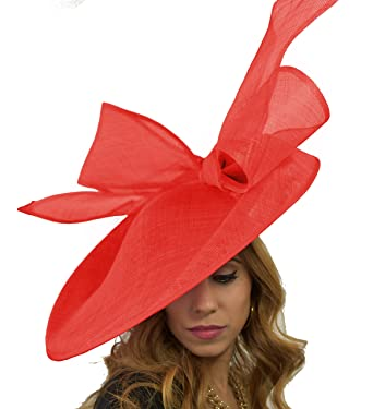 Hats By Cressida Large Red Saucer Disc Ascot Wedding Fascinator Hat ... 0b363876e1f