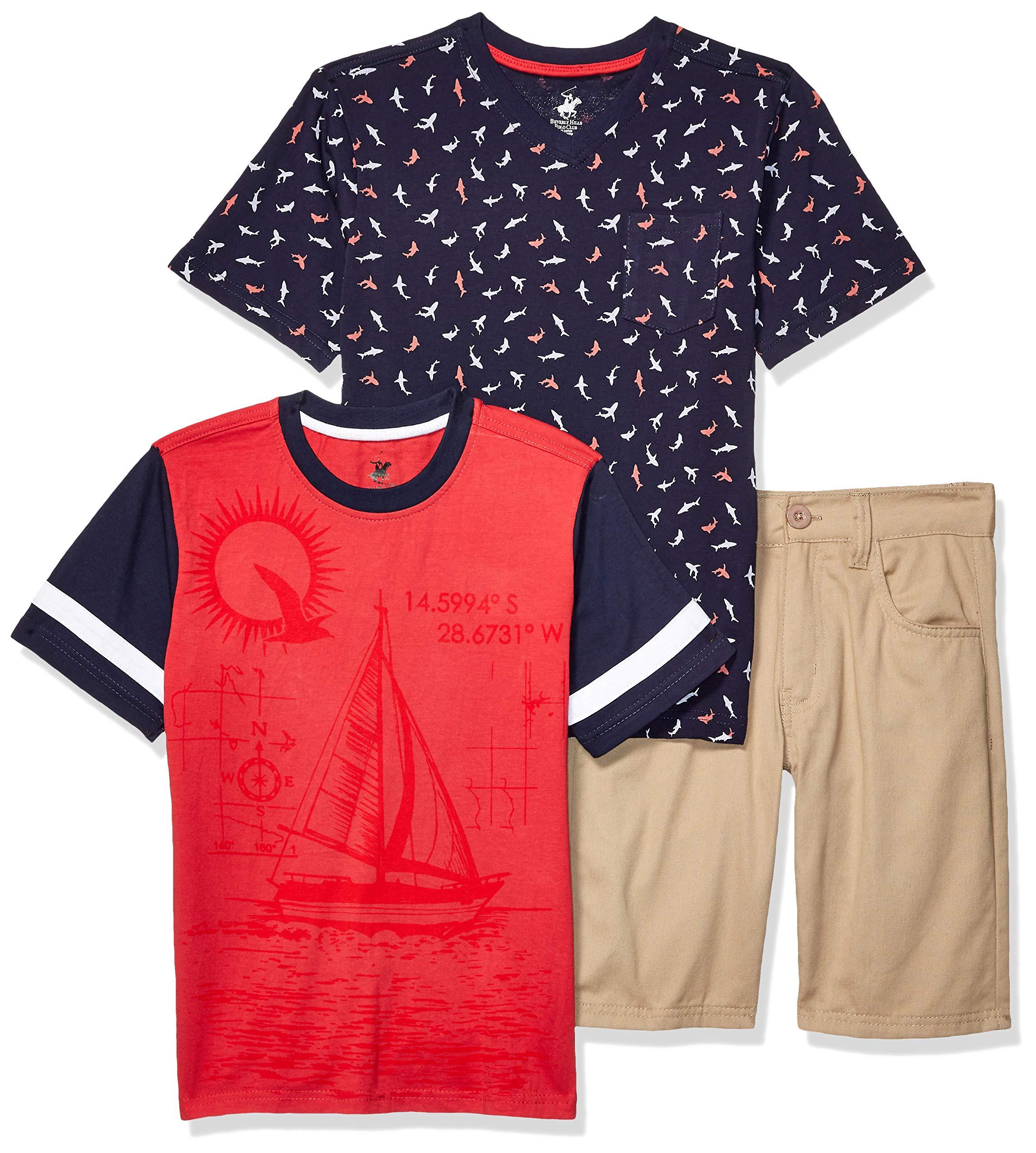 Beverly Hills Polo Club Boys' Big 3 Piece Short Set, Light red Sailboat, 8