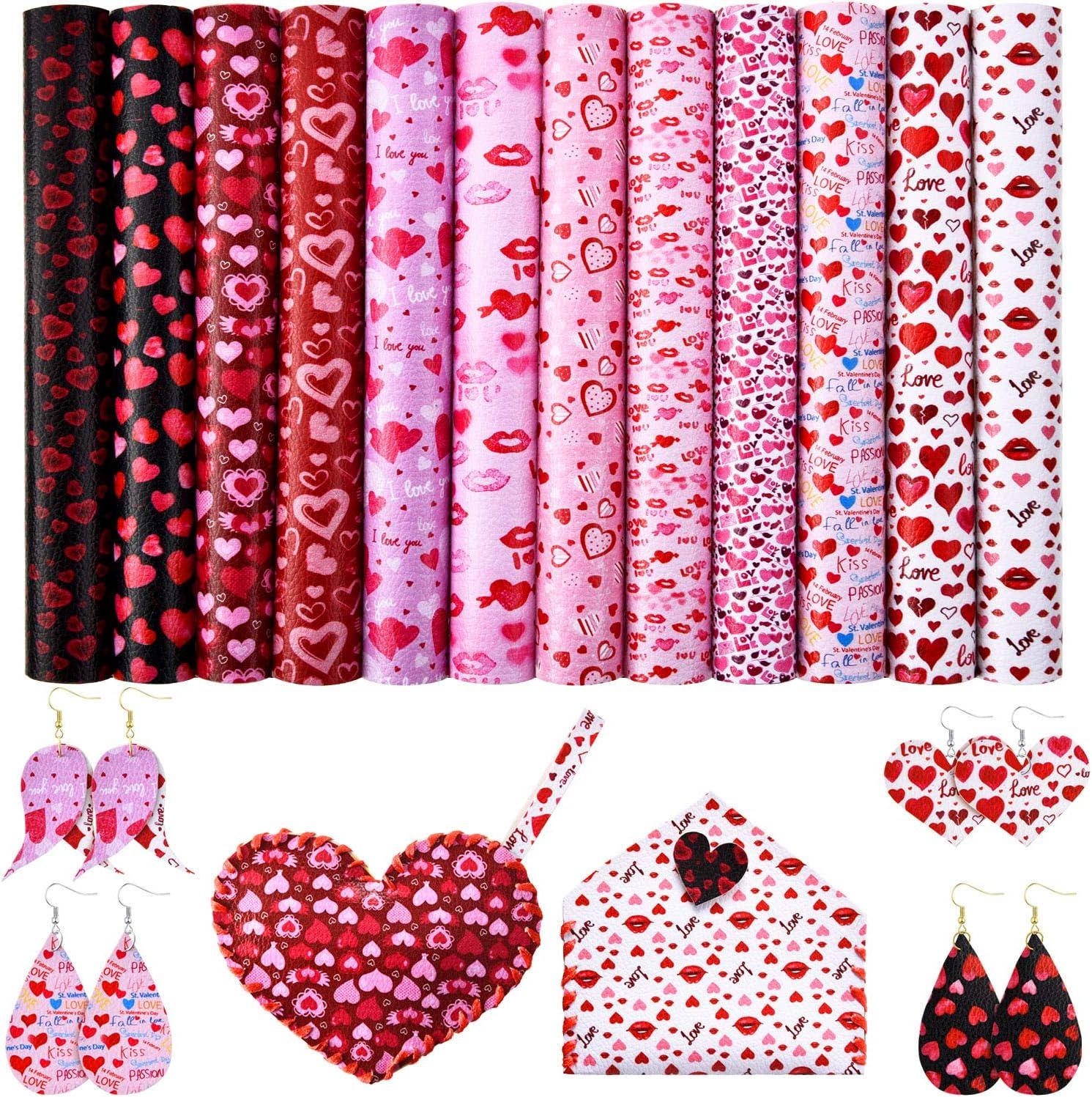12 paquetes de hojas de piel sintética para el día de San Valentín ...