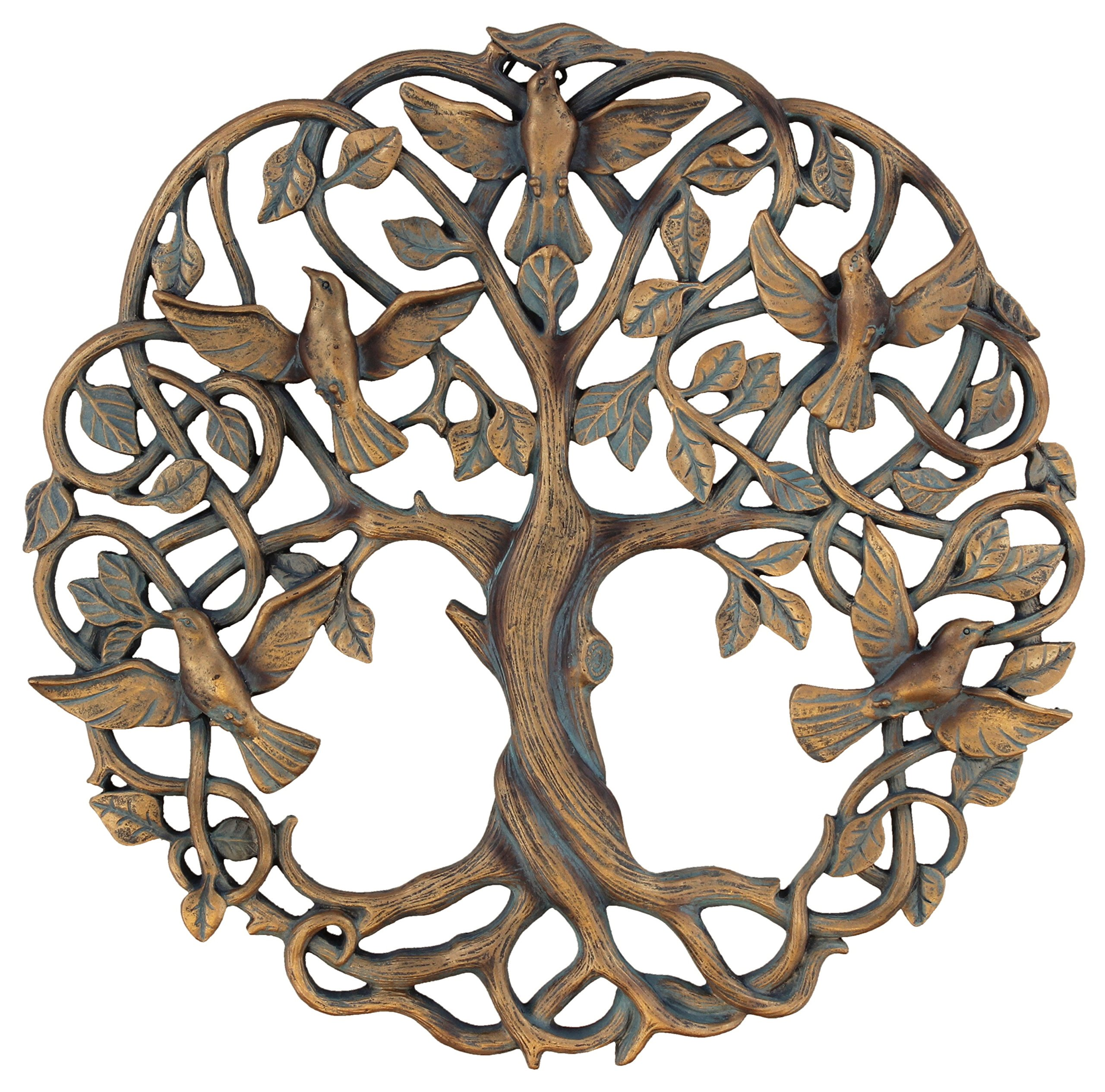 Old River Outdoors Tree of Life/Birds of Peace Wall Plaque 11 5/8'' Decorative Celtic Dove Garden Art Sculpture