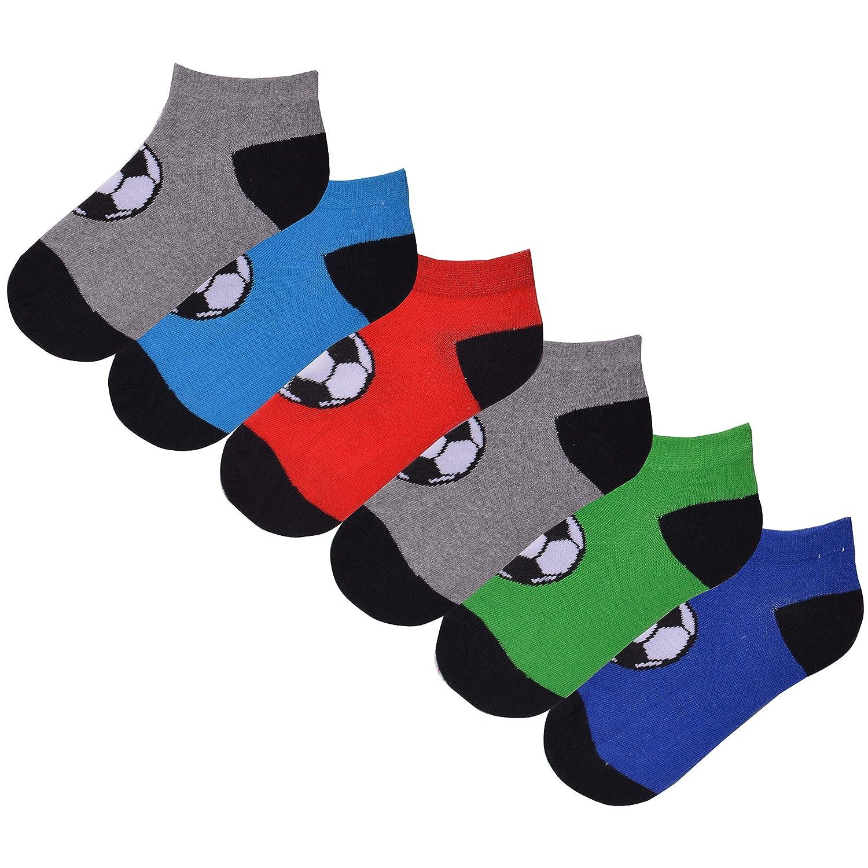 Boys 6 Pack Football Design Trainer Liner Socks Grey Blue Red Green Cotton Rich