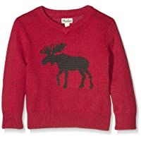 Hatley Boy's Moose V-Neck Sweater with Elbow Patches Sports Jumper