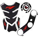 REVSOSTAR 5D Real Carbon, Motorcycle Gas Tank Protector, Tank Pad Sticker, Tank Cap, Fuel Cap Decal, Top Clamp Triple Tree Pa
