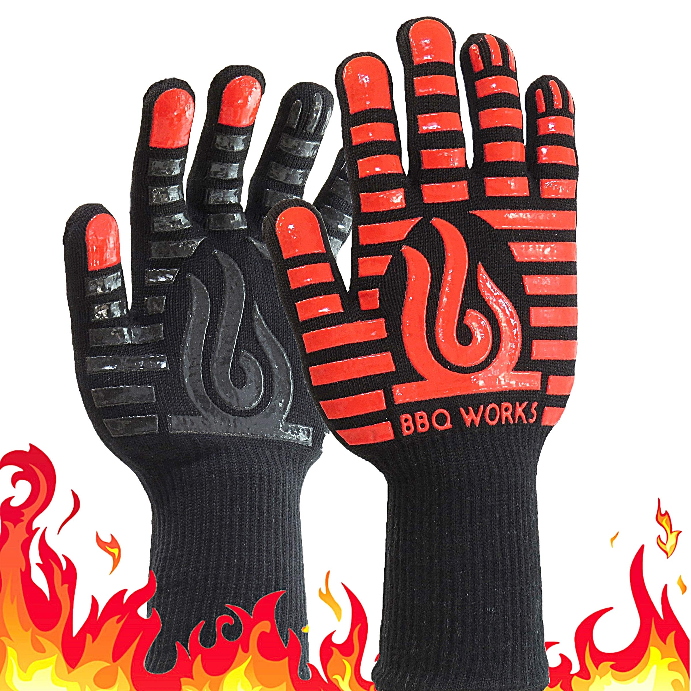 BBQ Works Grill Gloves, Extreme Heat Resistant Gloves to 932°F, Wider Silicone Strips for Extreme Protection, Wrist Safety, Comfortable Grilling Gloves, Use for BBQ, Grill and Oven. Red/Black by BBQ Works
