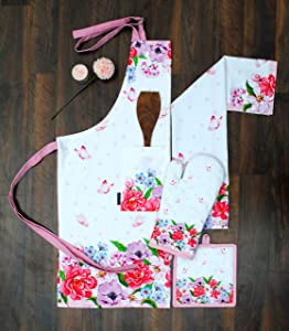 Amour Infini Spring Floral 4 Pack Kitchen Set  100% Cotton Machine Washable   Set of Apron, Kitchen Towel, Oven Mitt and Pot Holder   Perfect for Gifting, Baking and Everyday Cooking