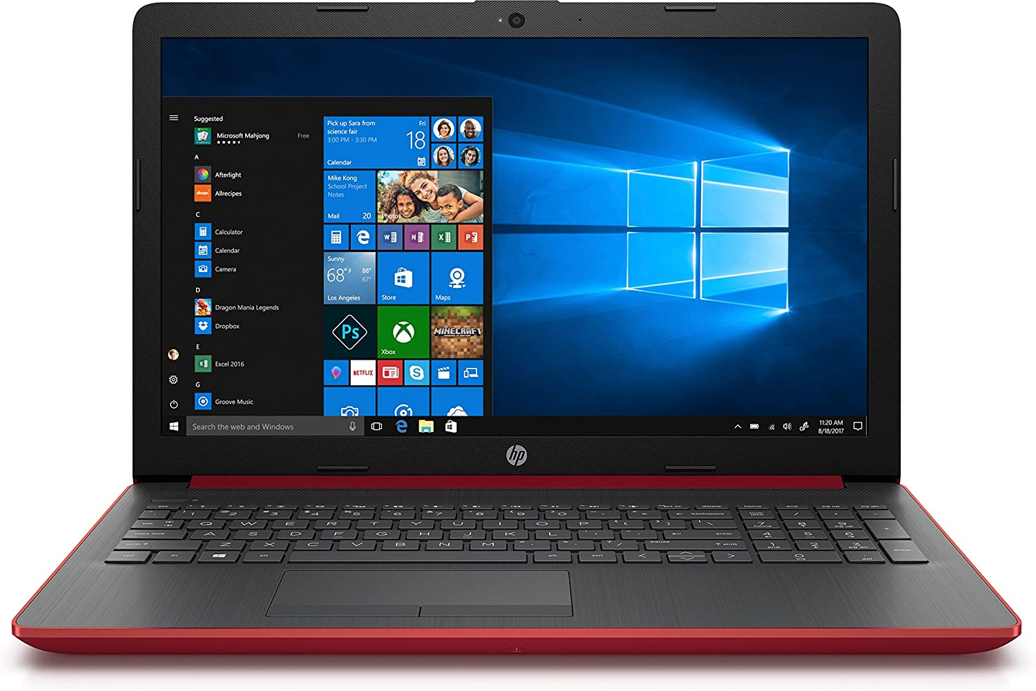 Portátil hp 15-da0123ns - i3-7020u 2.3ghz - 4gb - 128gb ssd - 15.6'/39.6cm - dvd rw - hdmi - wifi bgn - bt - Windows 10 - rojo plata.
