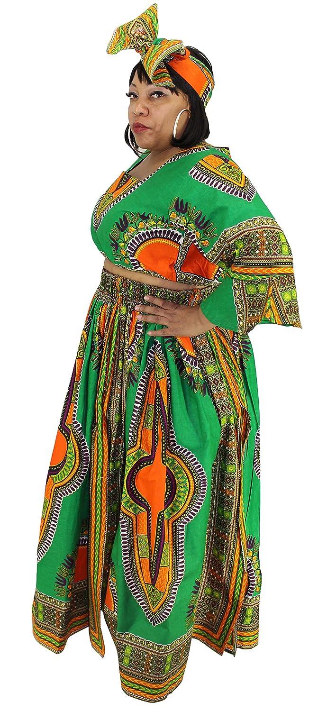 c779e3310f1cd Amazon.com  African Planet Women s 3 PC set Crop Top High Slit Elastic  Waist Skirt headwrap (Green)  Clothing