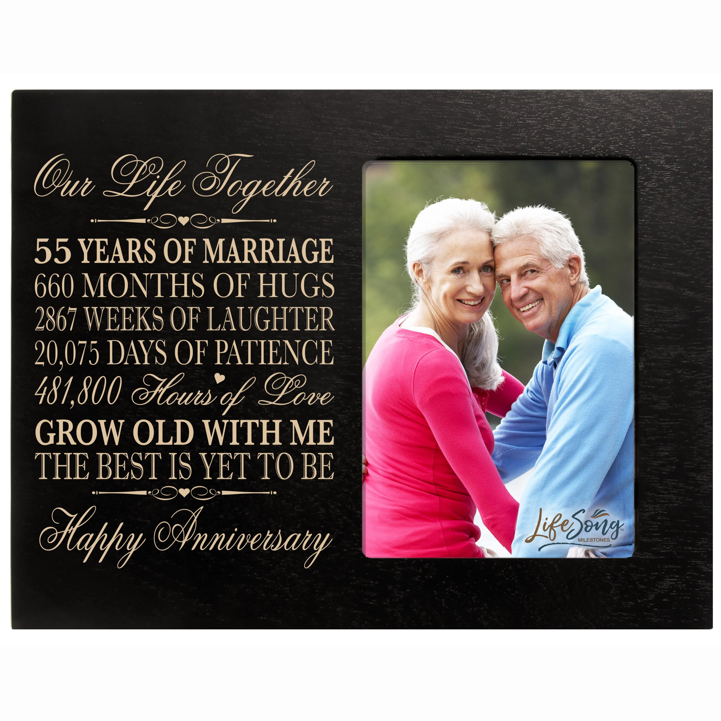 55th Year Wedding for her him Couple 55th Wedding Frame Holds 1 4x6 Photo 8'' H X 10'' W (Black)