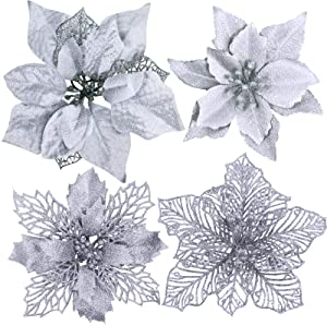 24 Pcs 4 Styles Christmas Silver Metallic Mesh Glitter Artificial Poinsettia Flower Stems Tree Ornaments in Box for White Silver Christmas Tree Wreaths Floral Gift Winter Wedding Holiday Decoration