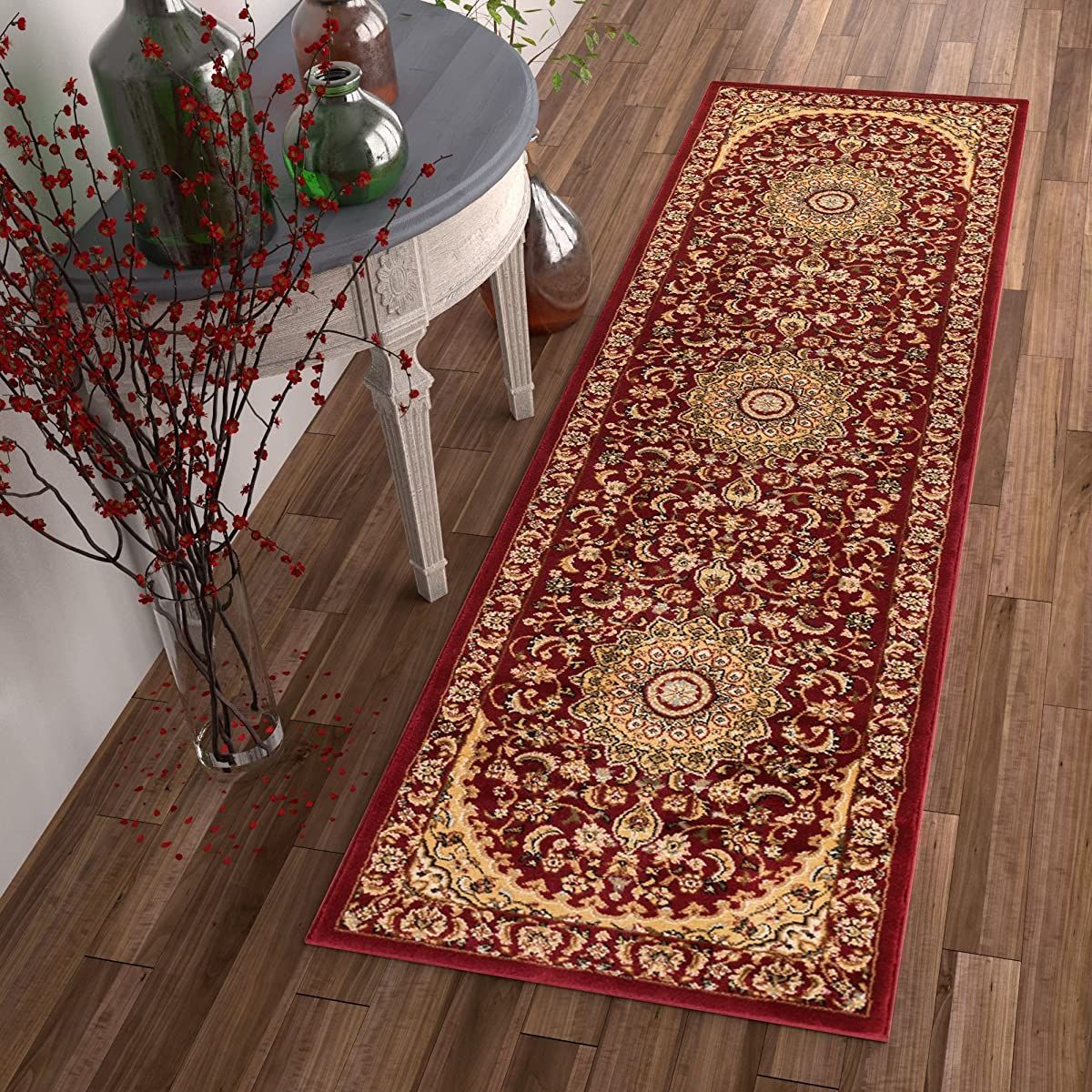 "Sultan Medallion Red Oriental Area Rug Persian Formal Traditional Area Rug 3 x 12 (27"" x 12) Runner Easy Clean Stain Fade Resistant Shed Free Modern Classic Thick Soft Plush Living Dining Room Rug"