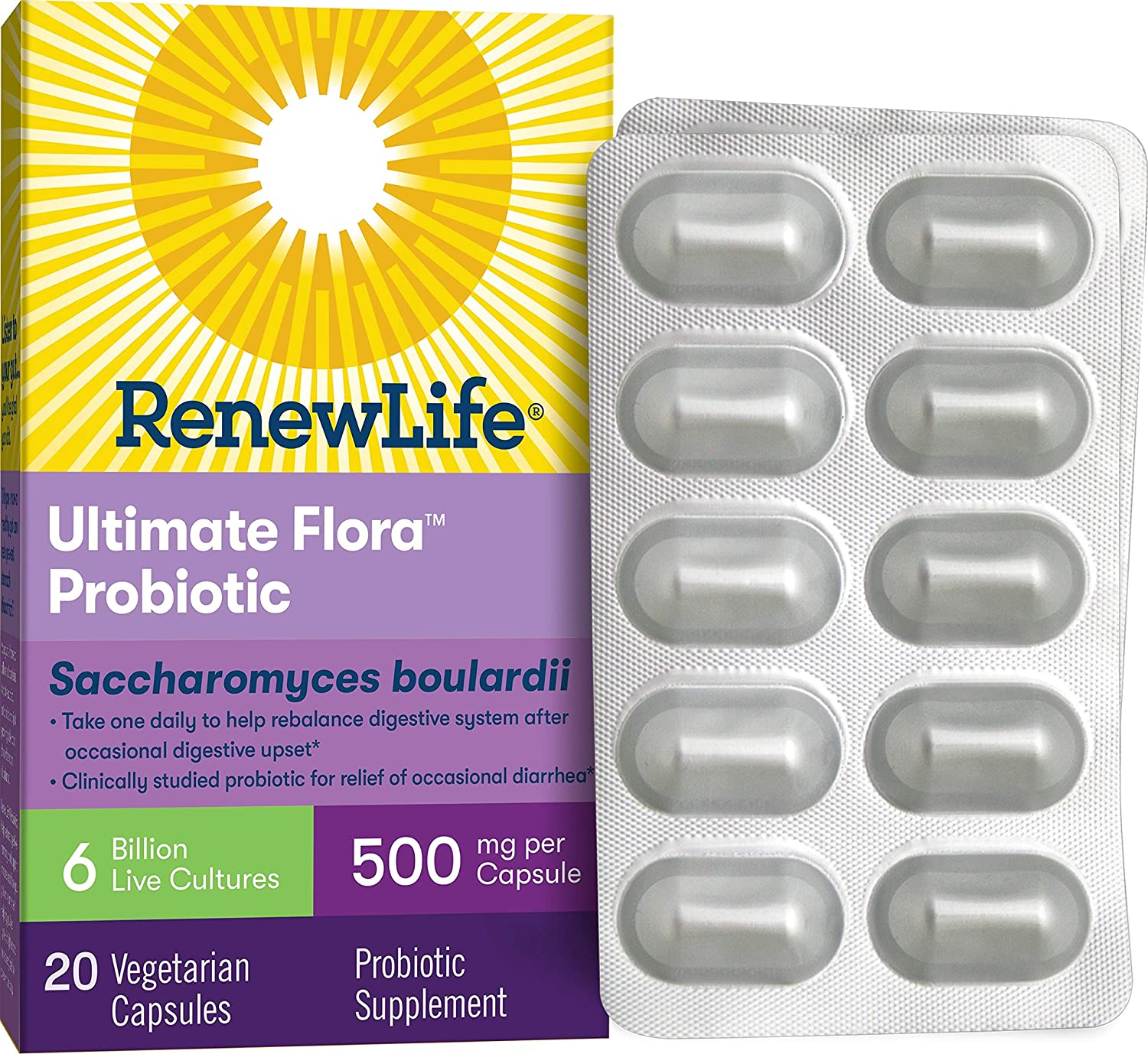 Renew Life® Adult Probiotic - Ultimate Flora™ Saccharomyces boulardii Probiotic Supplement - Shelf Stable, Gluten, Dairy & Soy Free - 6 Billion CFU - 20 Vegetarian Capsules