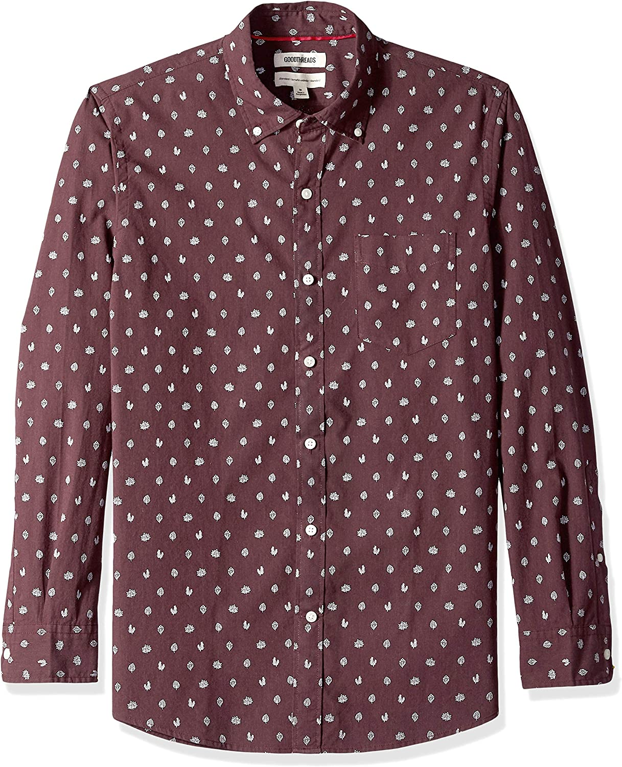 Brand Goodthreads Mens Standard-Fit Long-Sleeve Printed Poplin Shirt