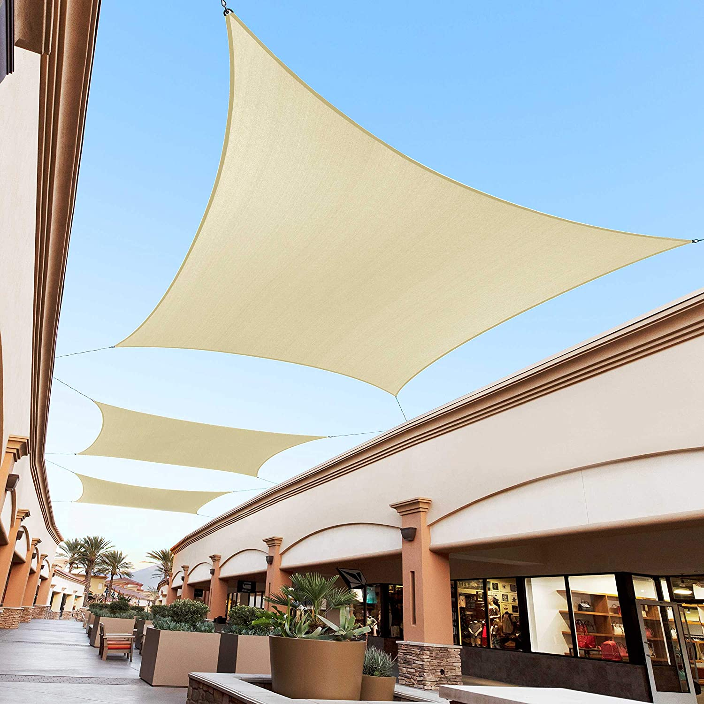 Royal Shade 8' x 12' Beige Rectangle Sun Shade Sail Canopy, 95% UV Blockage, Heavy Duty 200GSM, Custom Made Size