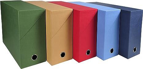 Caja archivadora de lona de Exacompta, color Surtidos. A4: Amazon.es: Oficina y papelería