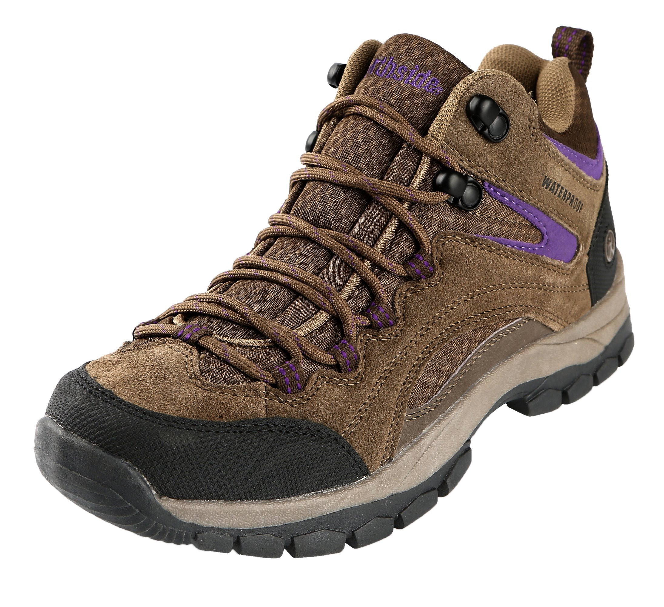 Northside Women's Pioneer Waterproof Hiking Boot, Stone/Purple, 7 M US