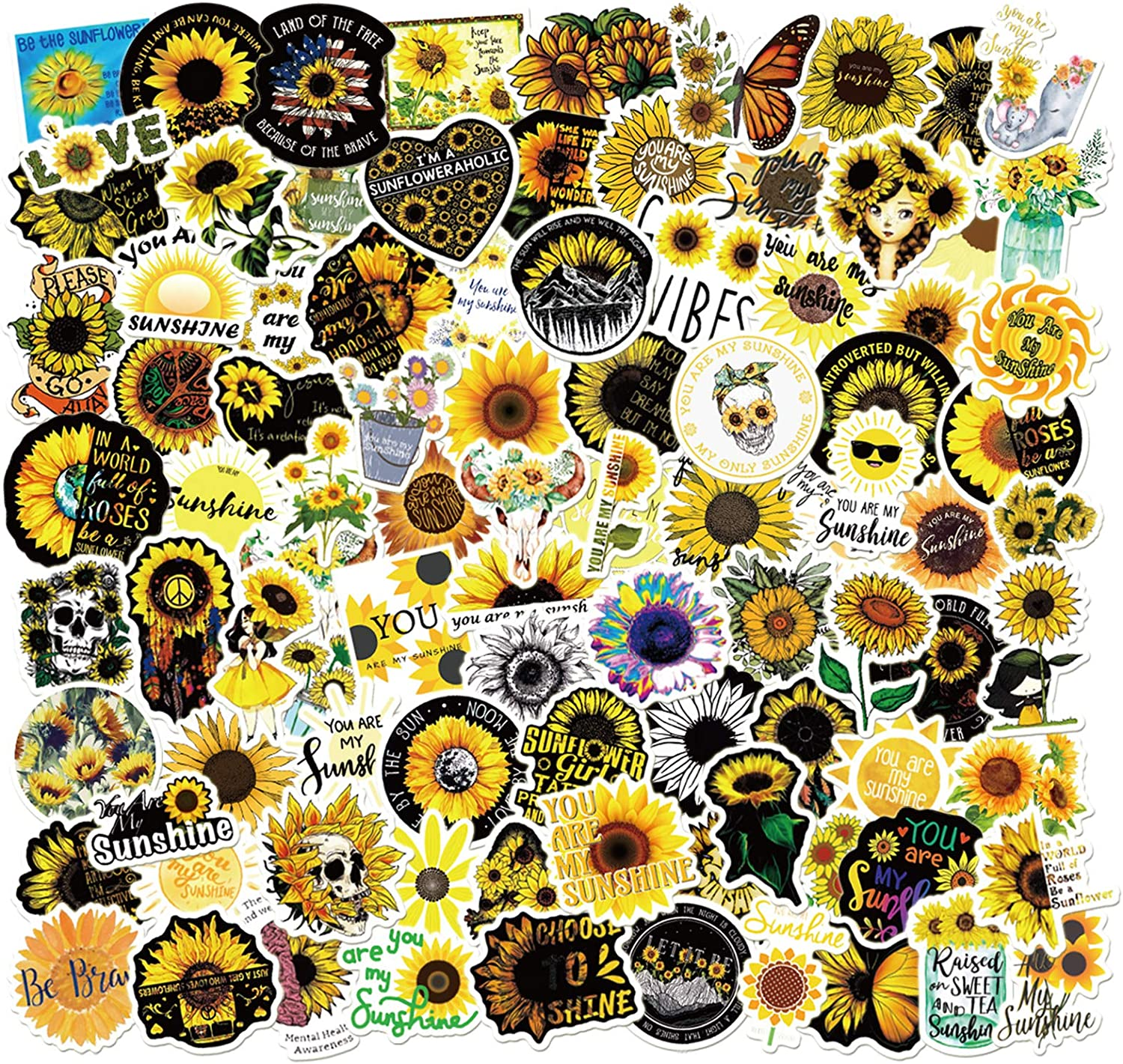 GorgeousZen Yellow Sunflower Stickers Vinyl 100pcs You are My Sunshine Sticker for Children Waterproof Laptop Skateboard Motorcycle Decor