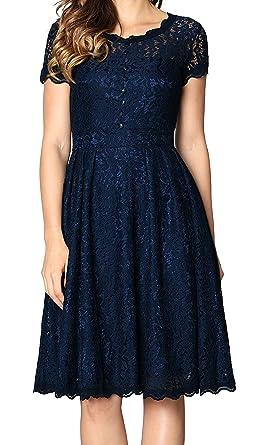 55c1c8e5e82 Angerella Women s Retro Floral Lace Cap Sleeve Vintage Swing Bridesmaid  Dress (X-Large