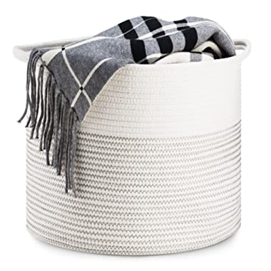 Storage Basket - Cotton Rope Storage Baskets Fold-able with Handles, 15 x15 x13 , Decorative Color Design, Perfect Organizer for Toy Storage, Nursery Storage and Laundry Basket - Large, Gray Stitching