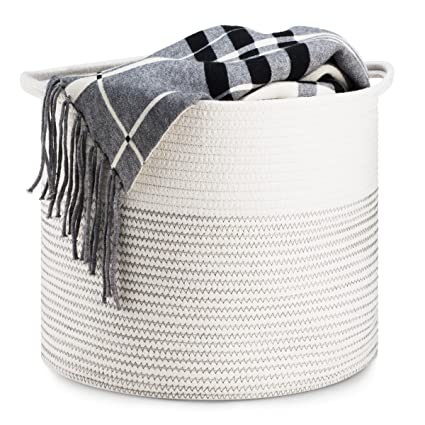 Storage Basket   Cotton Rope Storage Baskets With Handles, 15u0026quot;x  15u0026quot;x
