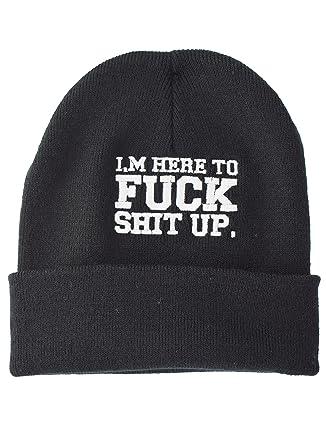 a8c6b11e3d0 Im Here To F ck Sh t Up Embroidered Slogan Knitted Beanie Hat   Amazon.co.uk  Clothing