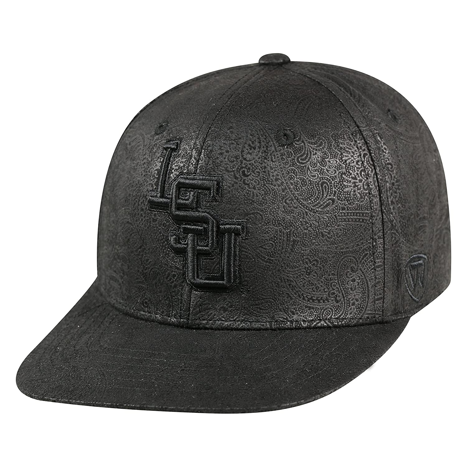 sports shoes 3d1f7 30d9e Amazon.com   Top of the World NCAA-All Black Phasely-Adjustable Snapback  Hat Cap-LSU Tigers   Sports   Outdoors