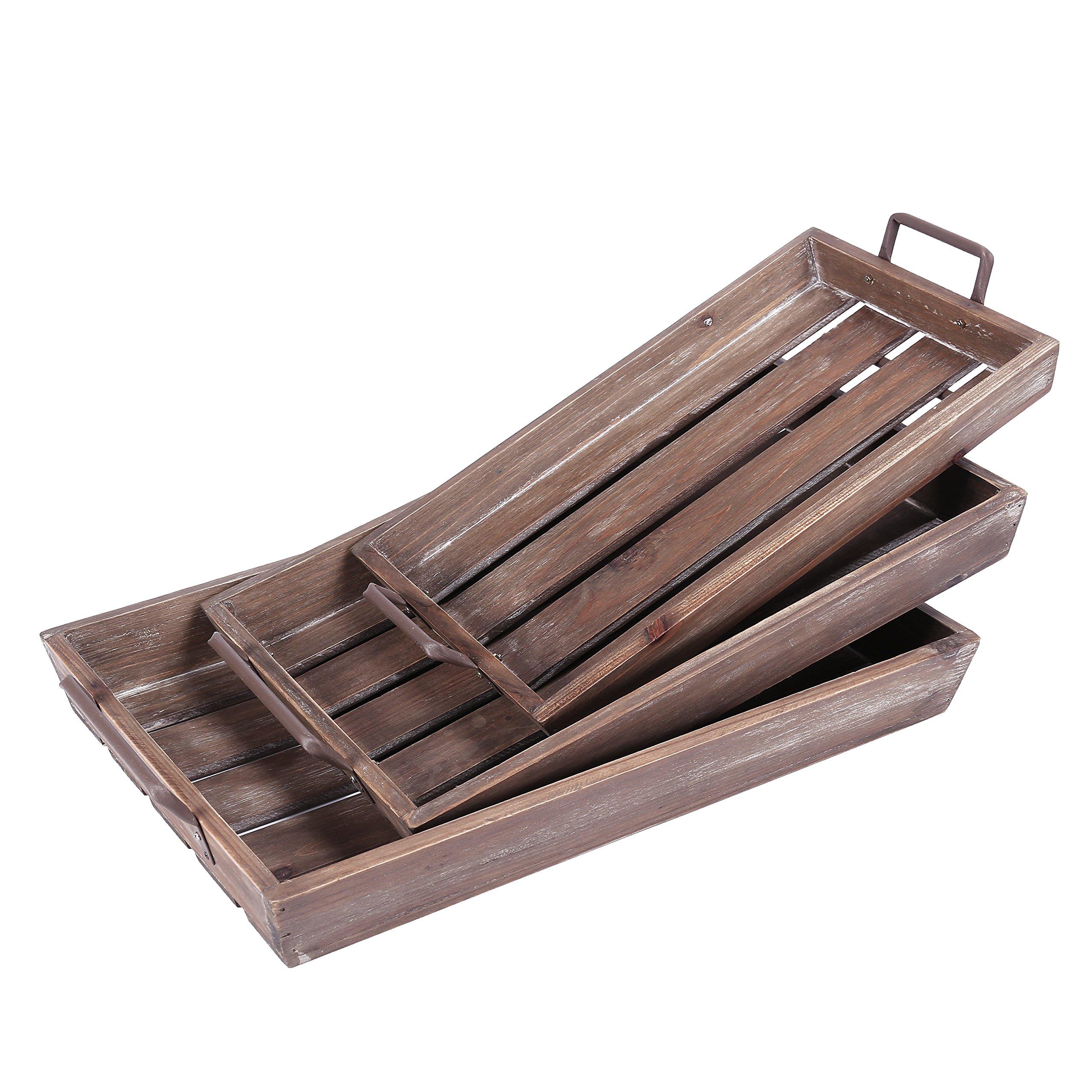Distressed Wood Slat Nesting Breakfast Serving Trays w/ Antique-Style Metal Handles, Set of 3, Brown
