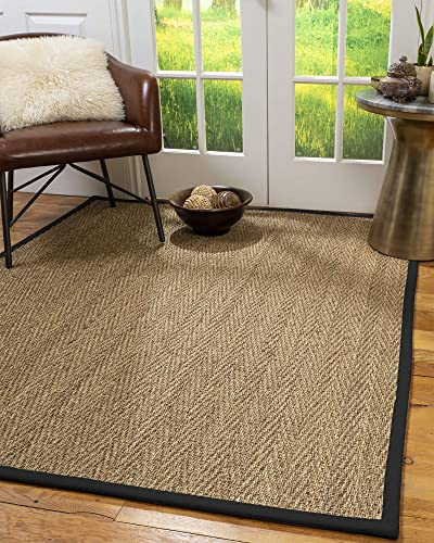 NaturalAreaRugs Opulence Area Rug Natural Seagrass Hand-Crafted Black Wide Canvas Border, 5 x 8
