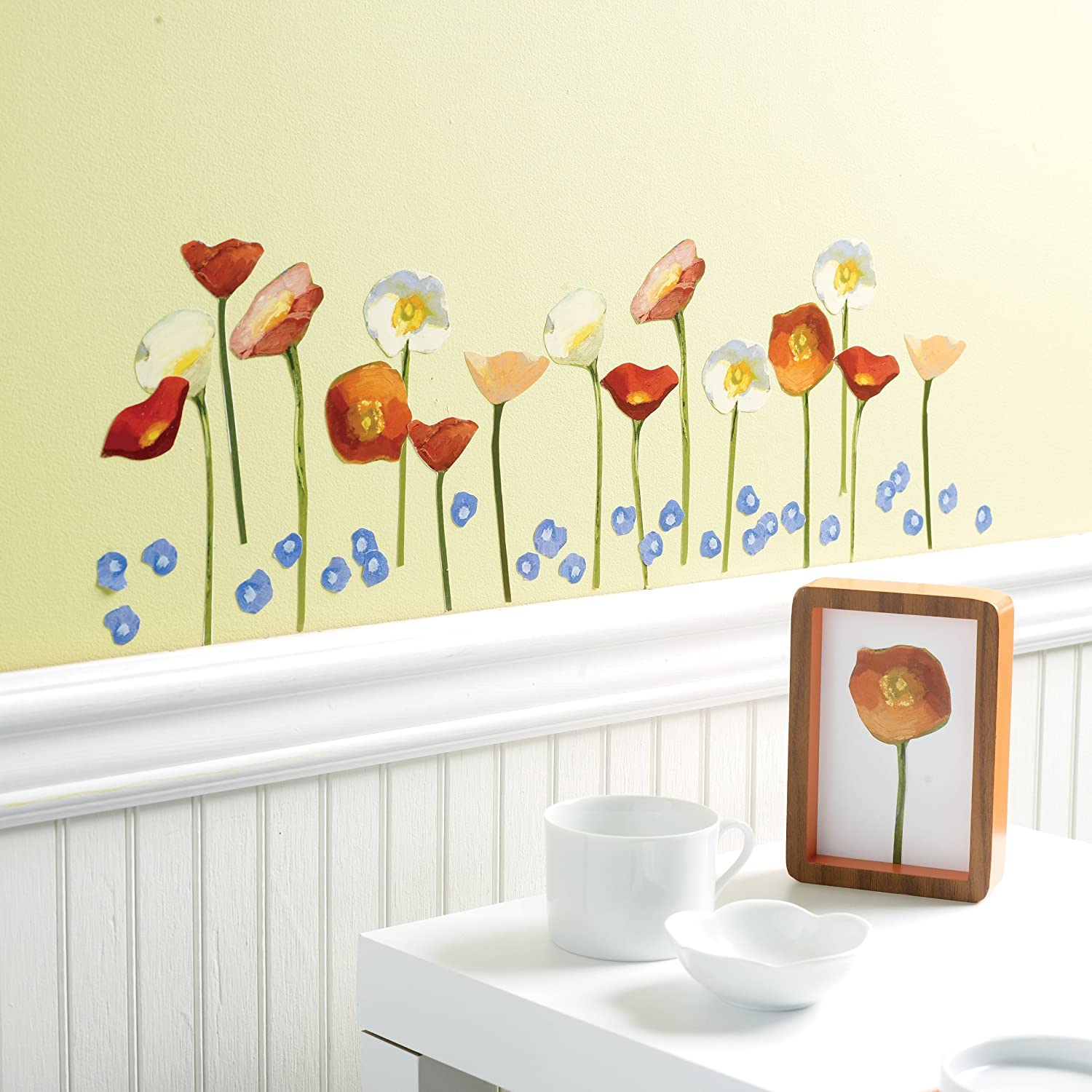Amazon.com: Wallies Wall Decals, Springtime Poppies Wall Stickers ...