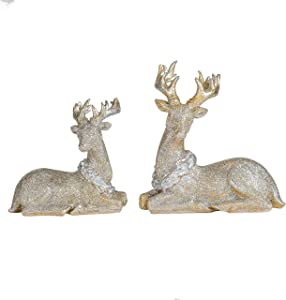 Gold Tone Glitter Small Sitting Reindeer 7.5 x 5.5 Resin Christmas Figurine Set of 2