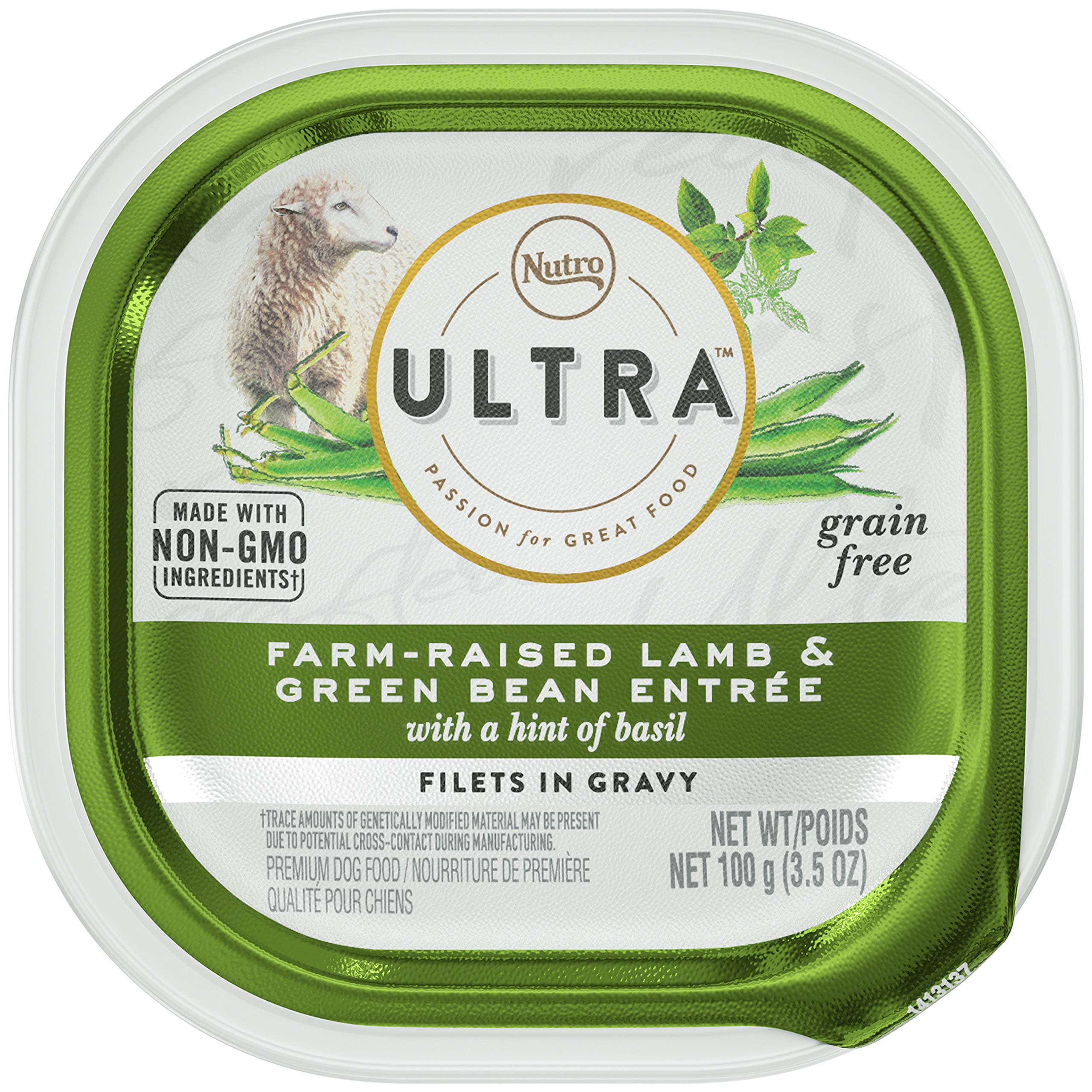NUTRO ULTRA Adult High Protein Natural Grain Free Wet Dog Food Filets in Gravy Farm-Raised Lamb Entrée with Haricot Verts and Hint of Basil, (24) 3.5 oz. Trays by Nutro