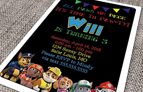Custom Birthday Party Invitation - Paw Patrol, Primary Colors with Black Background (20 invites