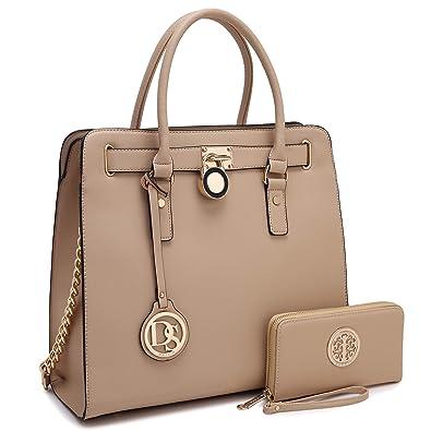 8484506e9679 Womens Fashion Handbag Designer Top Belted Padlock Satchel Bag Structured  Top Handle Shoulder Bag (2553w